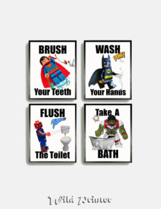 Kids Bathroom Wall Art Prints